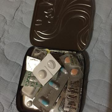 Pill box: antihistamine, tummy related ache-relief pills, motion sickness pills, pain relief pills, antacids, etc