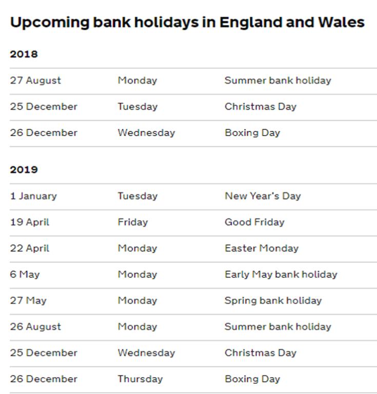 UPCOMING BANK HOLIDAYS ENGLAND AND WALES