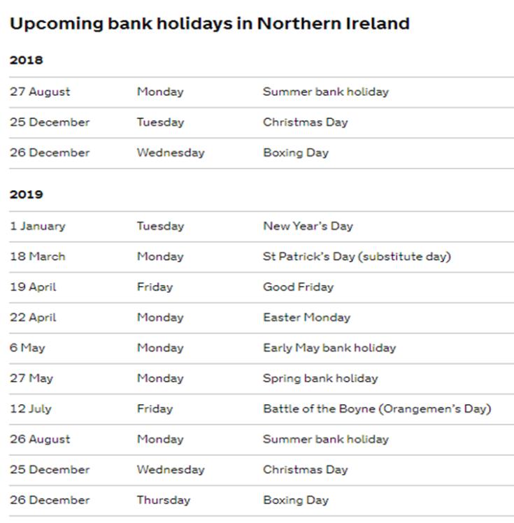 UPCOMING BANK HOLIDAYS NORTHERN IRELAND