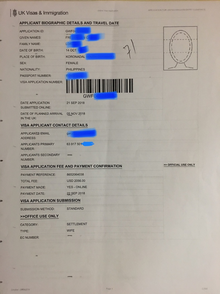 Spouse Visa (Settlement) Printed Online Application Form Sample